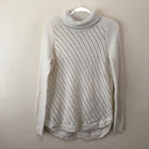 Lou & Grey Ivory Acrylic Blend Cowl Neck Sweater